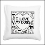 I Love My Dogs - Off The Leash canvas cushion