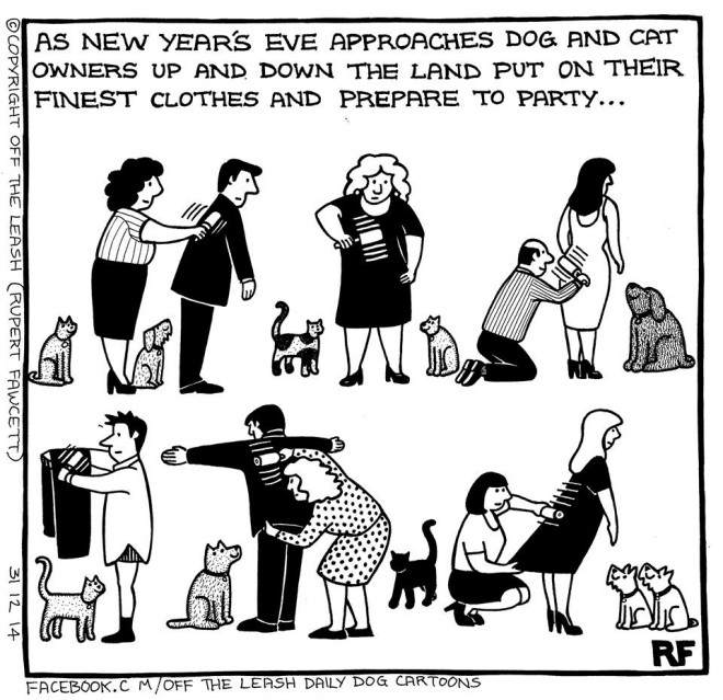 Me Gusta Funnies Happy New Year 2014: Off The Leash - New Years Eve