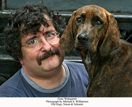 Murphy the dog with Gene Weingarten,