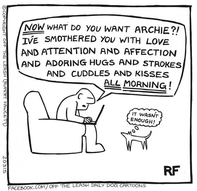 © Off The Leash Dog Cartoons / Rupert Fawcett More Cuddles!