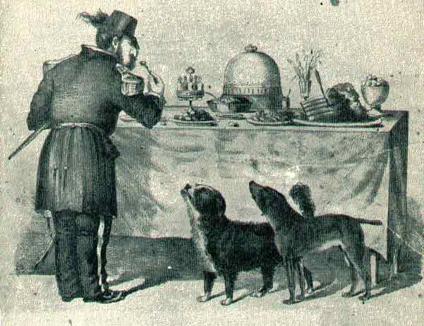 The Three Bummers. Edward Jump's cartoon shows Bummer and Lazarus begging scraps from Emperor Norton. Credit: Wikipedia