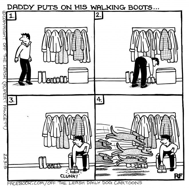 © Off The Leash Dog Cartoons / Rupert Fawcett Daddy's Boots